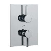 Florentine термостат для душа, в комплекте встраиваемым механизмом/частями для наружного/скрытого монтажа, со встроенной защитой от обратного потока, хромированная поверхность, стопор безопасности при 38', эргономичная кнопка (FLR-CHR-5651)